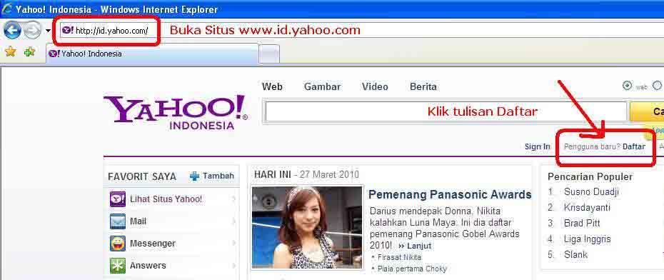 ILMU KOMPUTER: Cara Daftar Email di Yahoo
