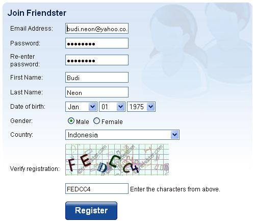 cara membuat mendaftar friendster